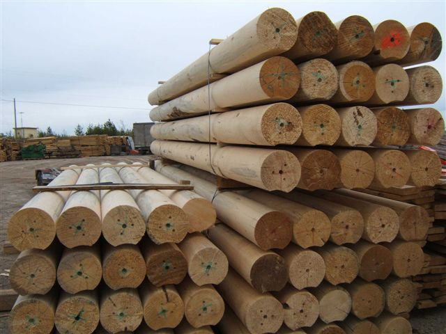 Lathe turned logs